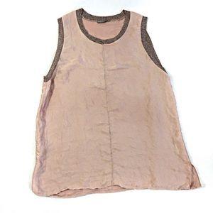 Zara Blush Pink Tank Top w/ Metallic Trim Size L